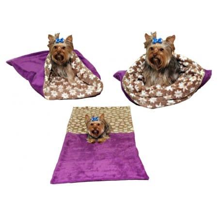 Spací pytel 3v1 pes,kočka č.23 fialová/hněd.květ