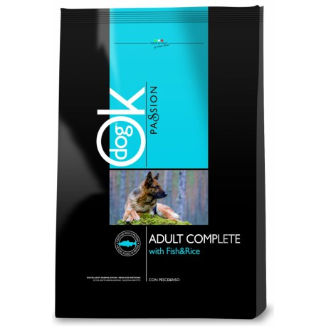 OK Dog Passion Adult Complet Fish Rice 12,5kg + VÝPRODEJ