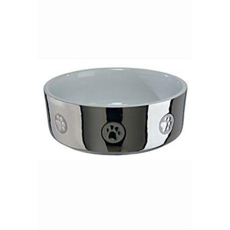 Miska keramická pes stříbrná s tlapkou 0,8l 15cm TR*