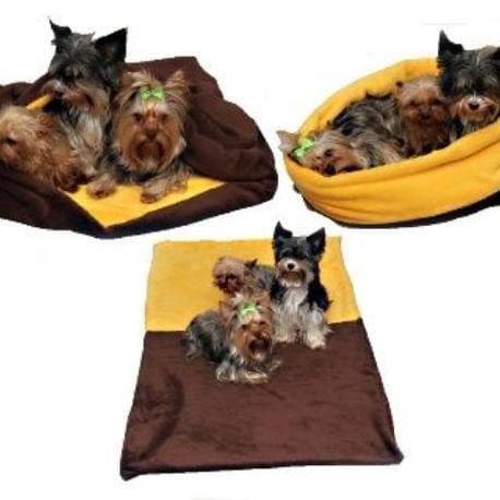 Spací pytel 3v1 XXL pes,kočka č. 3 tm.hnědá /žlutá