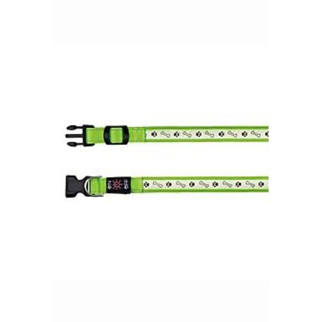 Obojek USB svítící 40-50cm/25mm M-L zelený TR*