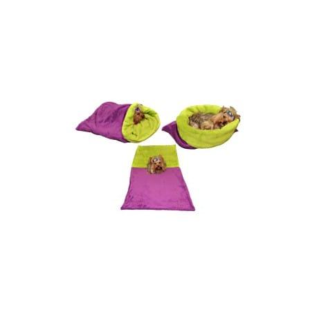 Spací pytel 3v1 pes,kočka č.43 fialová/sv.zelená