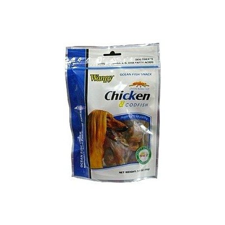 Wanpy Dog pochoutka Jerky Chicken+Codfish 60g