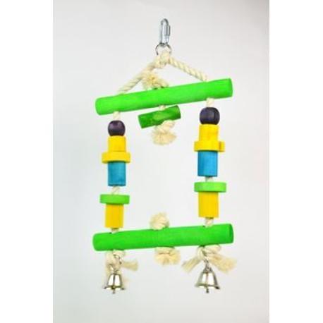 Hračka pro střední a velké papoušky dřevěná 31x18cm