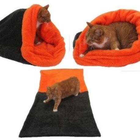 Spací pytel 3v1 XL pro kočky č.5 tm.šedá/oranžová