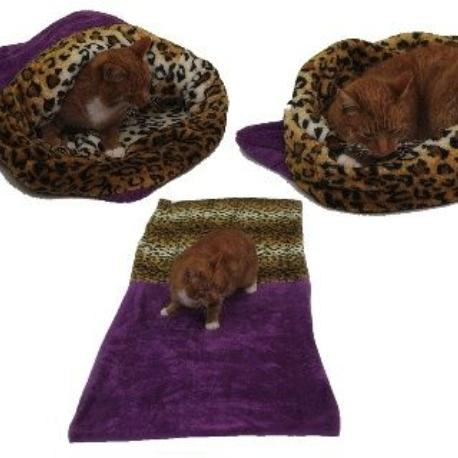 Spací pytel 3v1 XL pro kočky č.1 fialová/leopard