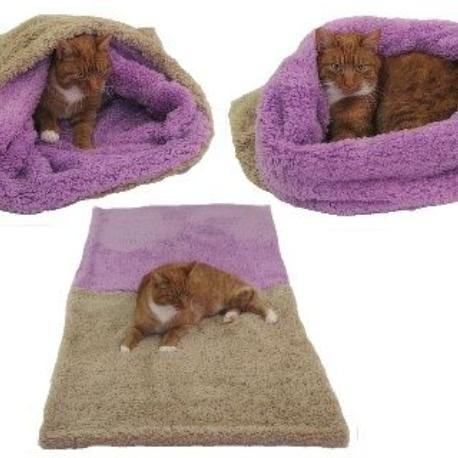 Spací pytel 3v1 de luxe XL kočka č.6 béžová/růž.fial.