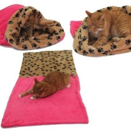 Spací pytel 3v1 XL pro kočky č.9 tm.růžová/sv.tlapky