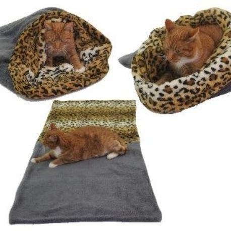 Spací pytel 3v1 XL pro kočky č.7 šedá/leopard