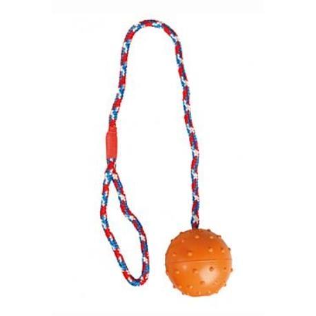 Hračka pes Míč gumový přetahovací s provazem 7cm new