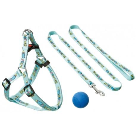 Postroj štěně nylon+vodítko 25-45cm/130cm modré KAR