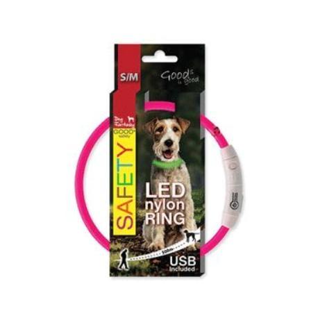 Obojek DOG FANTASY světelný USB růžový 45 cm 1ks