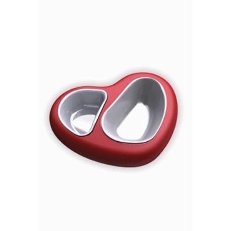 Miska plast dvojmiska Srdce 750ml +400ml červená ARGI