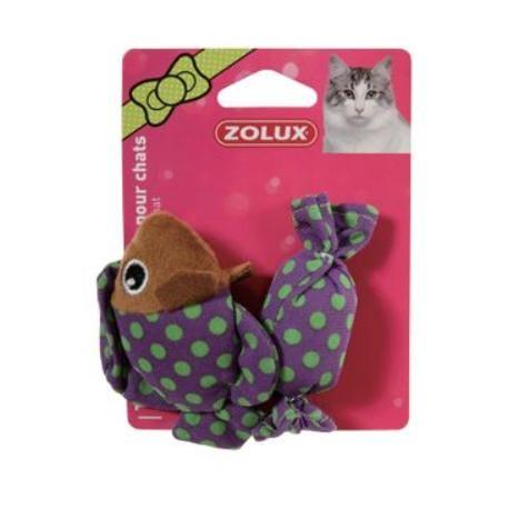 Hračka kočka ryba a bonbon fialová s šantou 8cm Zolux