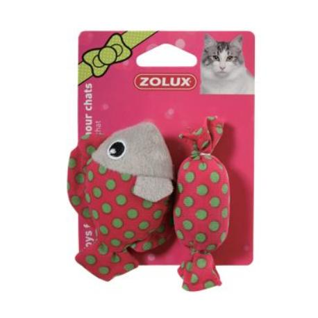 Hračka kočka ryba a bonbon červená s šantou 8cm Zolux