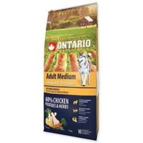 ONTARIO Dog Adult Medium Chicken&Potatoes&Herbs 12kg