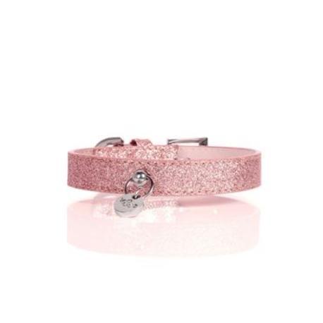 Obojek kožený Růžový třpytivý 25cm/1,5cm 1ks M&P