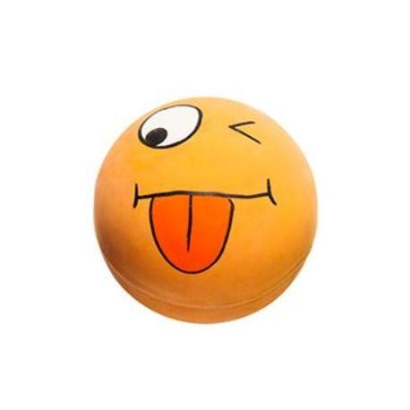 Hračka pes Míček Smajlík oranžový 6cm latex