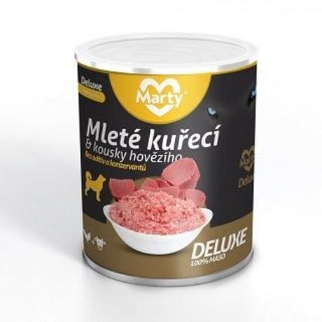 Marty DeLuxe konz. pro psy 100% masa - kuře+hov. 800g