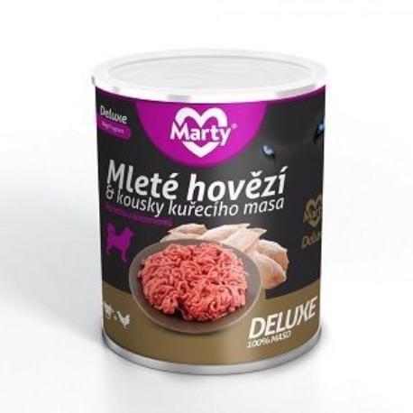 Marty DeLuxe konz. pro psy 100% masa - hov.+kuře 800g
