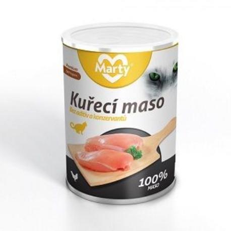 Marty konzerva pro kočky 100% masa - kuře 400g