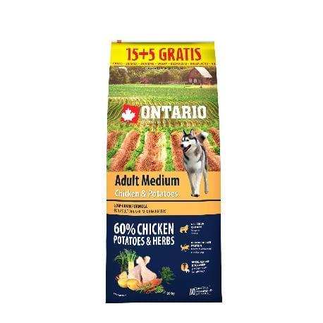 ONTARIO Dog Adult Medium Chicken&Potatoes&Herbs 15kg