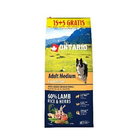 ONTARIO Dog Adult Medium Lamb & Rice 15kg