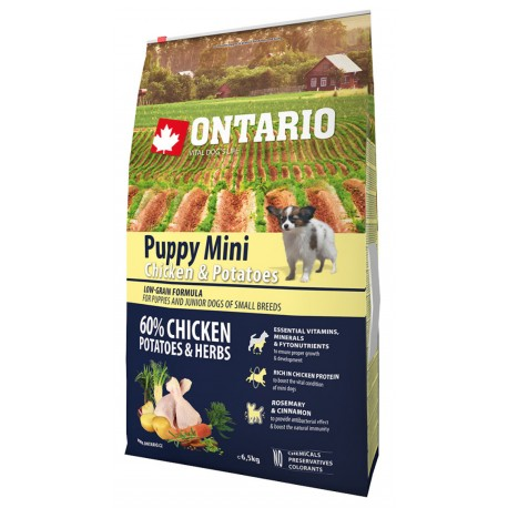 ONTARIO Dog Puppy Mini Chicken&Potatoes&Herbs 6,5kg