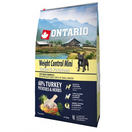 ONTARIO Dog Mini Weight Control Turkey&Potatoes 6,5kg