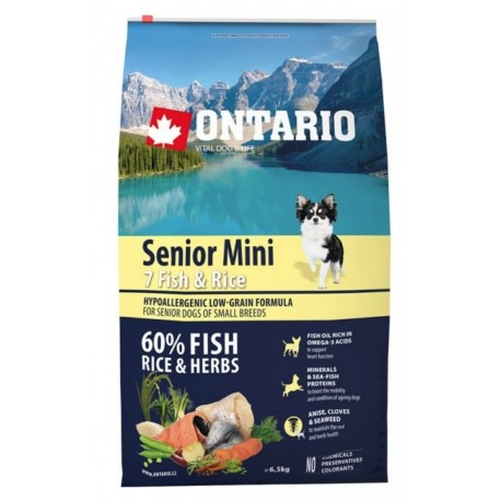 ONTARIO Dog Senior Mini Fish & Rice 6,5kg