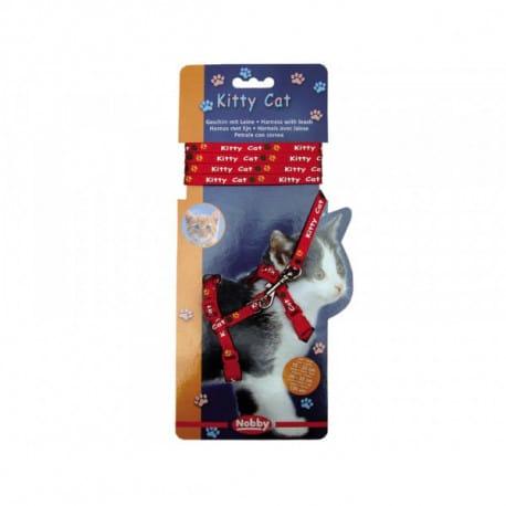 Nobby Kitty Cat červený set postroj + vodítko pro kotě