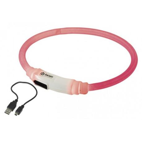 Nobby LED svítící kroužek na krk pro kočky růžová 35cm