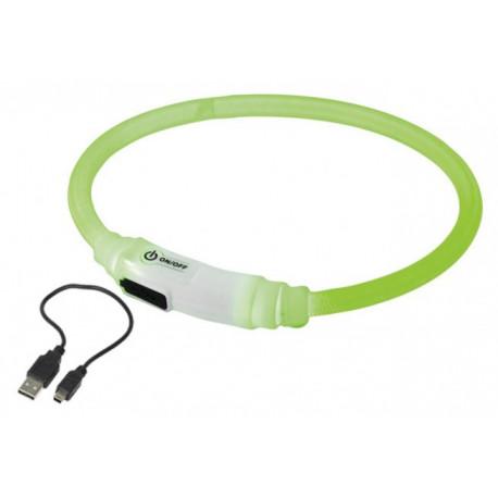 Nobby LED svítící kroužek na krk pro kočky zelená 35cm