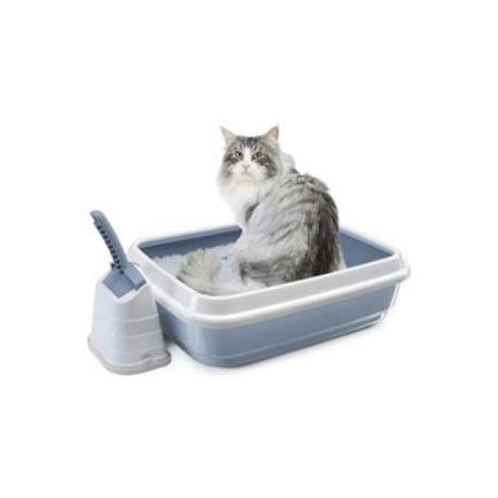 WC kočka s vysok.okrajem a lopatkou modrá 50x40x16cm