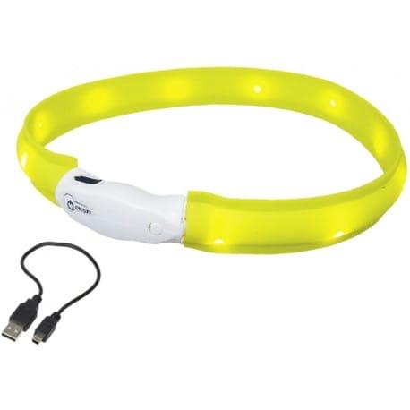 Nobby LED plochý svítící obojek pro psy žlutý M 55cm