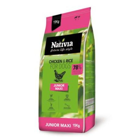 Nativia Dog Junior Maxi 15kg + Sleva 5% od 2ks
