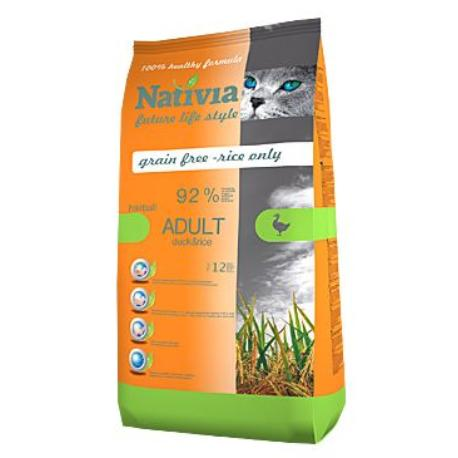 Nativia Cat Adult Duck&Rice Hairball 10kg + Sleva 5% od 2ks