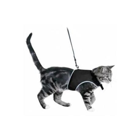 Postroj kočka vesta  24-42cm /1,20m černá TR 1ks