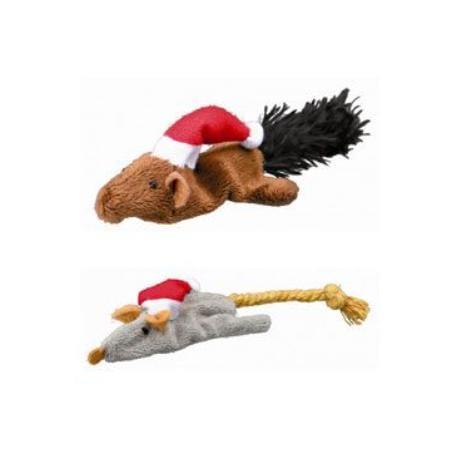 Vánoční Hračka kočka Myš a Veverka 14-17cm plyš TR