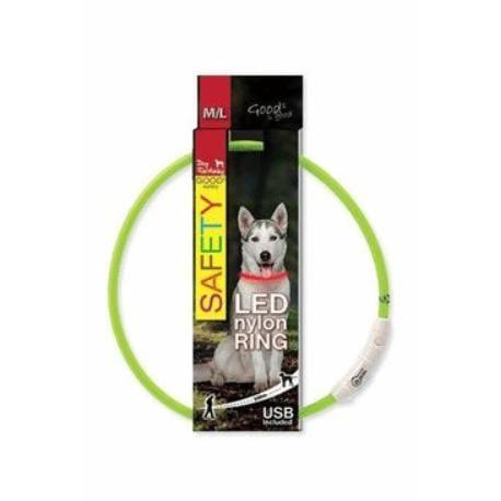 Obojek DOG FANTASY světelný USB zelený 65 cm 1ks