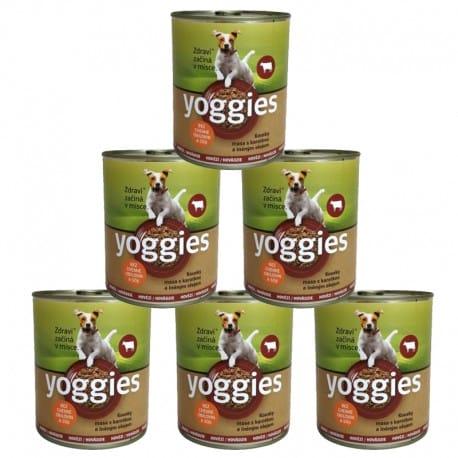 Yoggies konzerva Hovězí, karotka a lněným oleje 6x800g