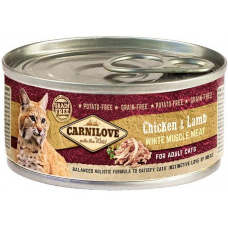 Carnilove White konz Mus Meat Chicken&Lamb Cats 100g