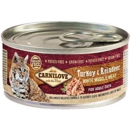 Carnilove White konz Mus Meat Turkey&Reindeer Cats100g