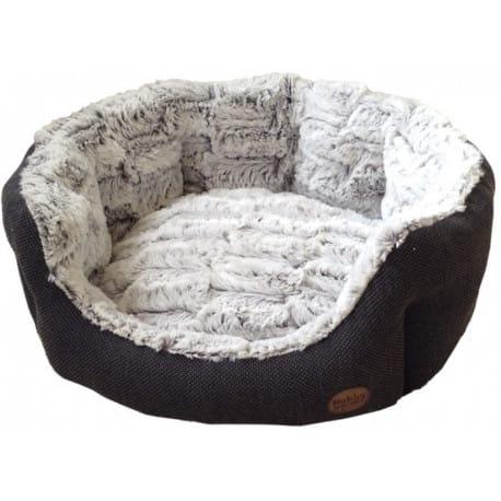 Nobby CACHO luxusní plyšový pelíšek šedý oválný 65x57cm