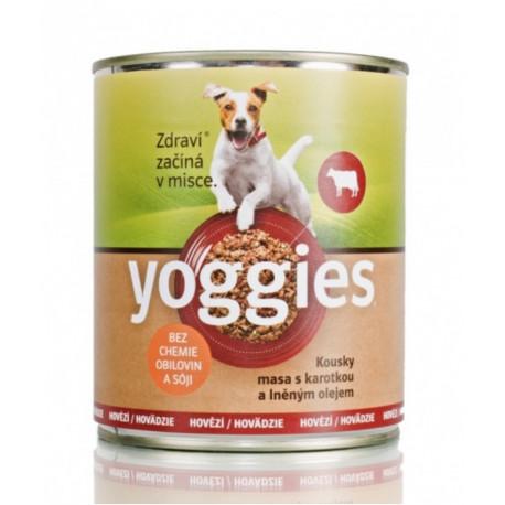 Yoggies konzerva Hovězí, karotka a lněný olej 800g
