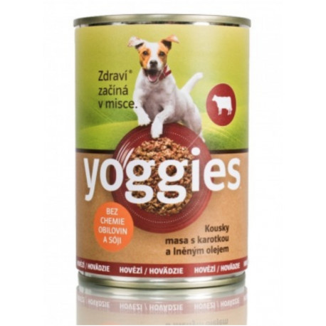 Yoggies konzerva Hovězí, karotka a lněný olej 400g