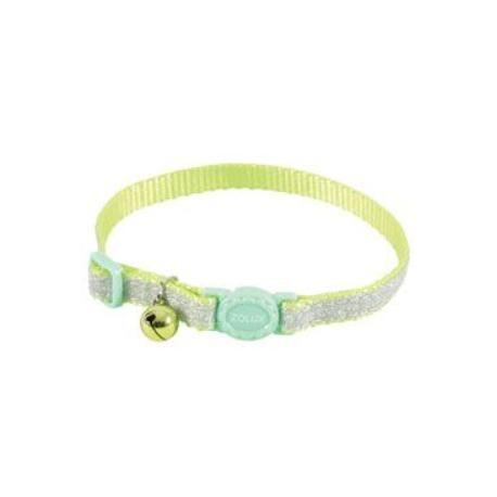 Obojek kočka SHINY nylon zelený 10mm/30cm Zolux