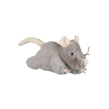 Hračka kočka Myš šedá plyšová robustní 15cm TR 1ks