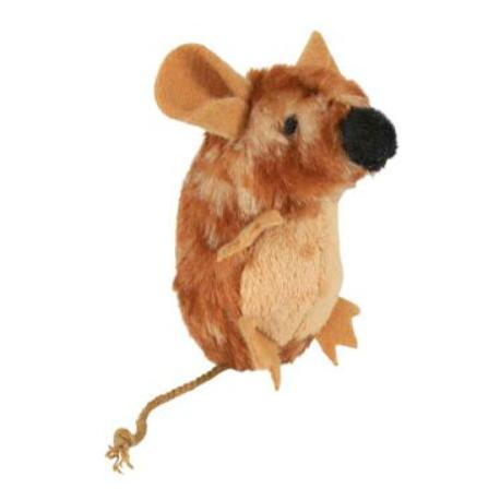 Hračka kočka Myš stojící plyšová s catnipem 8cm TR 1ks