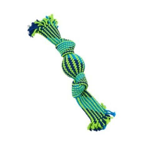 Hračka pes BUSTER Pískací lano s balonkem mod/zel 33cm